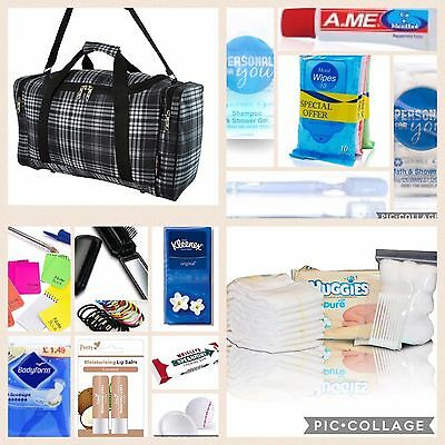 Black check pre-packed hospital/maternity bag Essentials for Mum & Baby