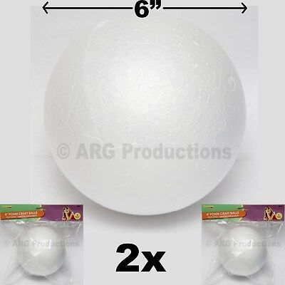 SET OF 2 - 6 INCHES FOAM CRAFT BALLS GREAT FOR CRAFT SCHOOL PROJECTS STYROFOAM - 6 Inch Styrofoam Balls