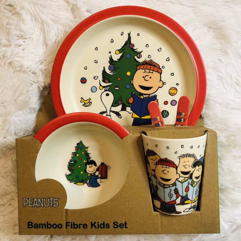 Peanuts Christmas Bamboo Fibre Kids Dining Set Snoopy Charlie Brown Linus Sally