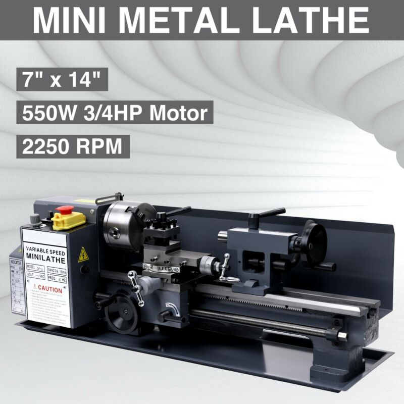 "7"" x 14""Mini Metal Lathe Machine 550W Variable Speed 2250 RP"