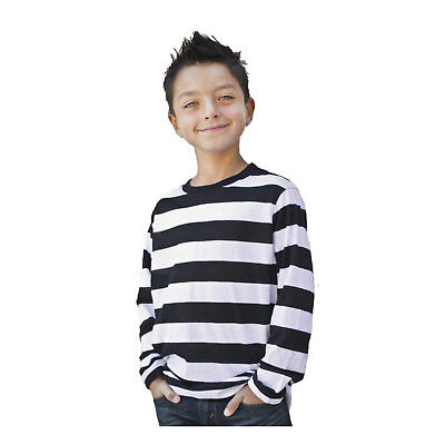 Kids Child Teen NYC Punk Mime Stripe Costume Long Sleeve Striped T Shirt S M L - Mimes Costumes