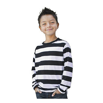 Kids Child Teen NYC Punk Mime Stripe Costume Long Sleeve Striped T Shirt S M L - Baby Punk Costume