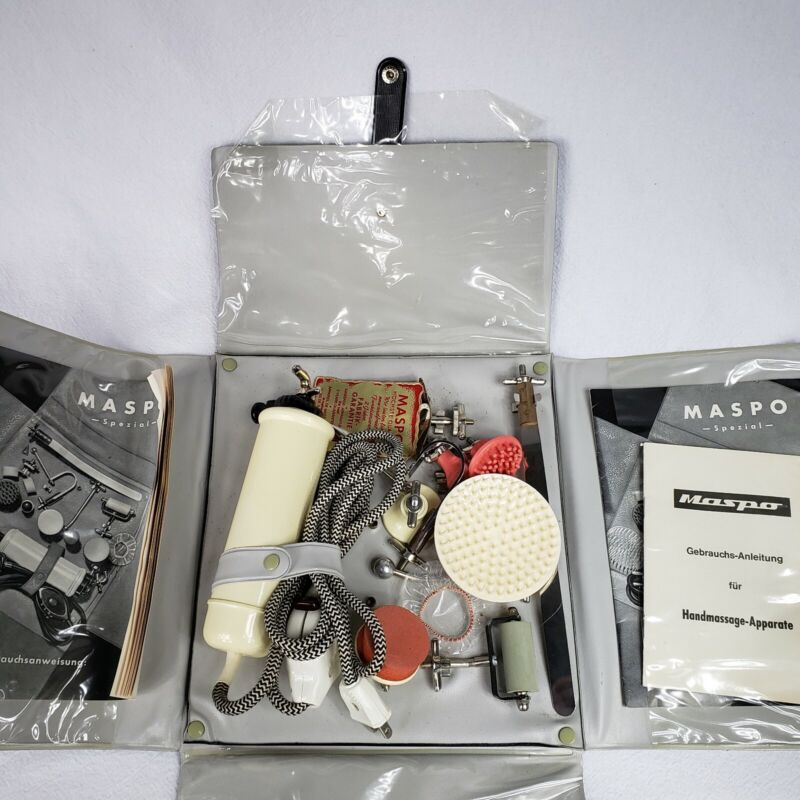 VINTAGE MASPO SWISS MEDICAL(?) MASSAGER VIBRATOR WITH MANY ATTACHMENTS