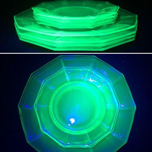 Cambridge Glass Uranium Glass 8 Piece Salad Plate Serving Set USA