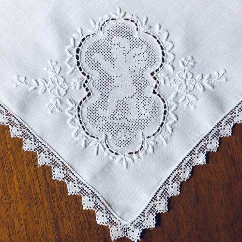 """Antique Handmade Linen Napkins """" Cherubs"""" - 8 pc"""