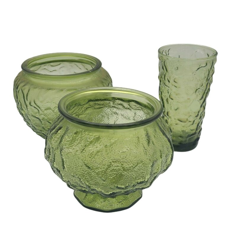 Vintage E.O. Brody Co Green Crinkle Glass Bowl Planter Vase Collection Lot