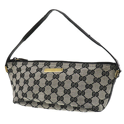 GUCCI Original GG Canvas Leather Pouch Hand Bag Black Italy Authentic #SS114 O
