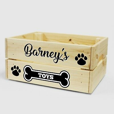Personalised Dog Puppy Wooden Toy Box / Crate For Treats and Storage - Pet Gift