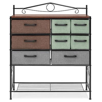 8 Drawer Wood Metal Storage Cabinet Dresser Chest Cabinet Living Room Furniture