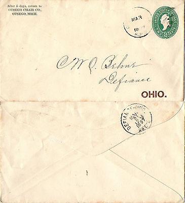 UNITED STATES 1897 ENVELOPE TO OHIO RAILWAY POST OFFICE CANCELLATION