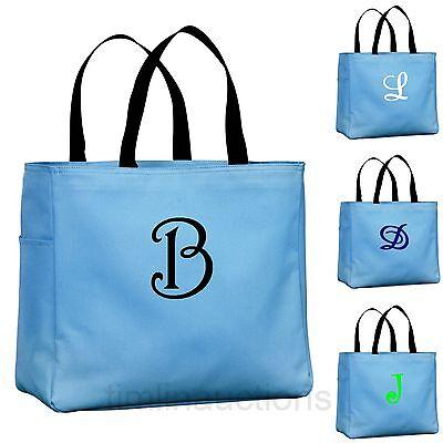 Personalized Mongrammed Tote Bag Bridesmaid Gift  Wedding Carolina Blue](Bridesmaid Tote)