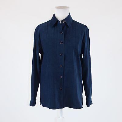 Dark blue stretch faux suede TALBOTS button down jacket P Dark Blue Faux Suede