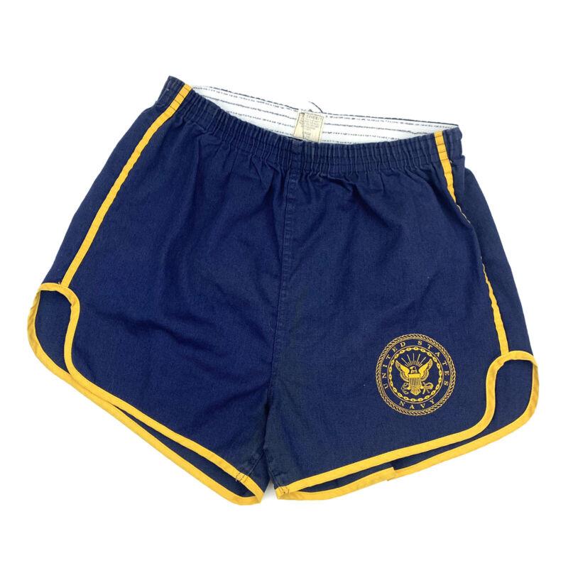 Vtg USN Gym Shorts Blue Gold 70s 80s PE Athletic Large
