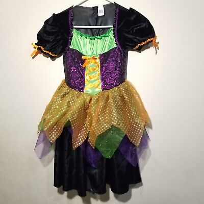 Girls Halloween Witch Costume Size L 10 12 Tulle Glitter Skirt Sequins With Hat  - Halloween Costumes With Tulle