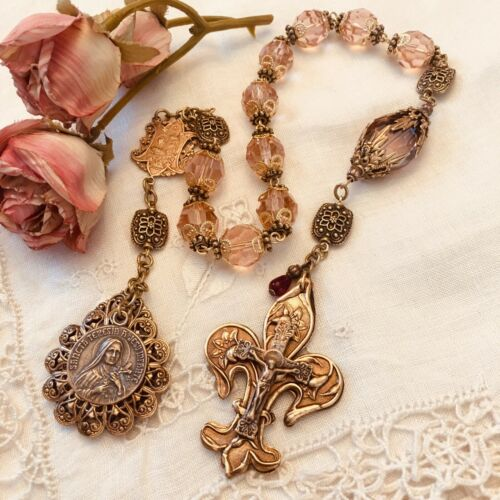 ROSARY ~ ONE DECADE ROSARY ~ PINK CRYSTAL ~ ST THERESE ~BRONZE ~ FLEUR DE LIS