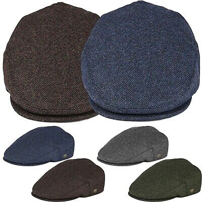 Classic Men's Herringbone Newsboy Flat Hat Wool Ivy Gatsby Driving Cap Mens Wool Caps