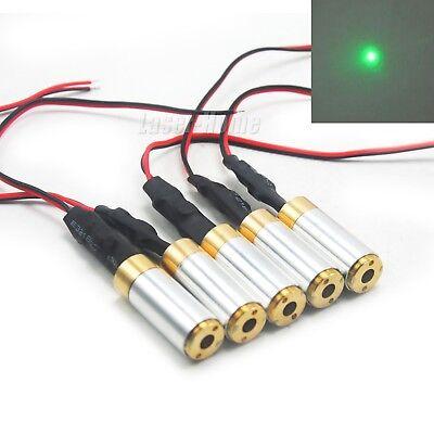 5pcs 532nm 10mw Green Focus Dot Laser Diode Module 3-5vdc Brass Locator Led