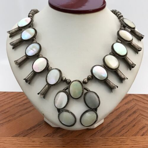 VTG Sterling Silver Mother-of-Pearl SQUASH BLOSSOM Necklace