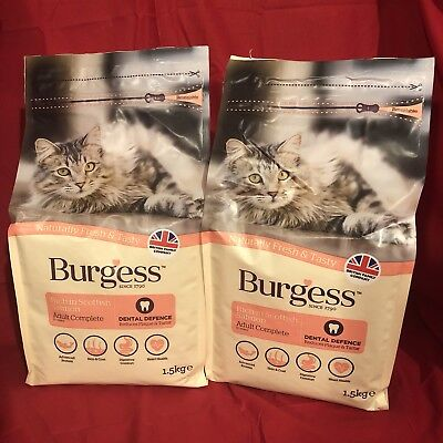 2 Burgess Dry Adult Cat Food Salmon Dental Care Digestion Urinary Skin Coat 1.5k