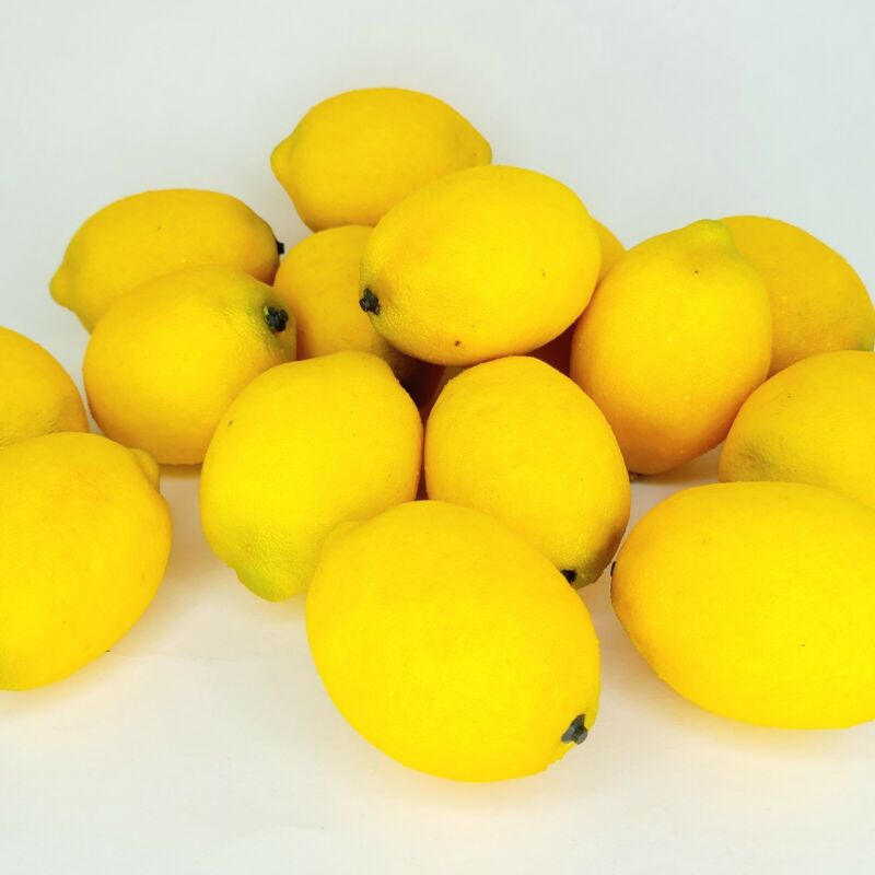 15 Artificial Faux Lemons Prop Home Staging Life-size Yellow Fake Fruit Textured