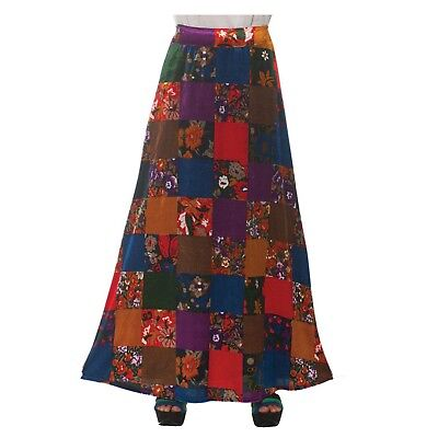 Women's 70's Disco Gypsy Hippie Patchwork Floral Halloween Costume Skirt Dress L](Floral Halloween Costumes)