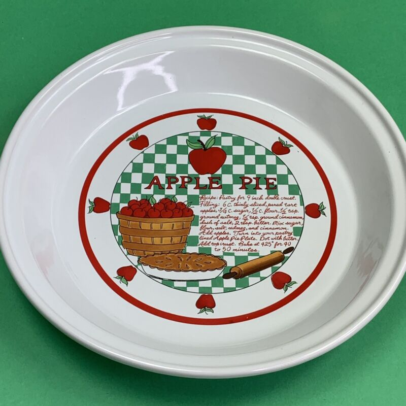 Apple Pie Recipe Dish Plate White Red Green 10.5 inch Baking Over and Back Inc