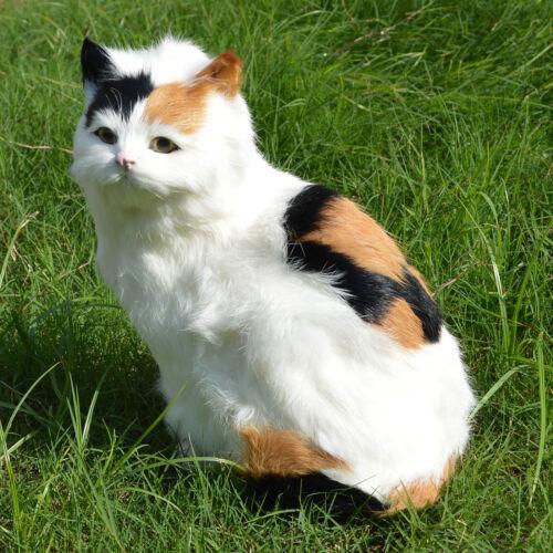 Realistic Color Cat Figure Rabbit Fur Furry Animal Pet Figurine Replica Kitten