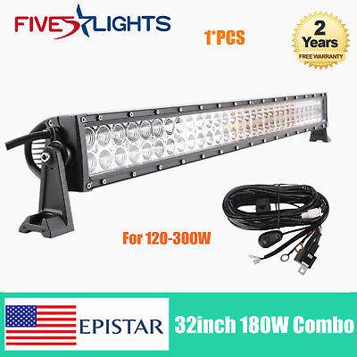 32''in 180W LED Light Bar Combo Lamp Car Truck SUV Boat Wrangler TOP+Harness Kit