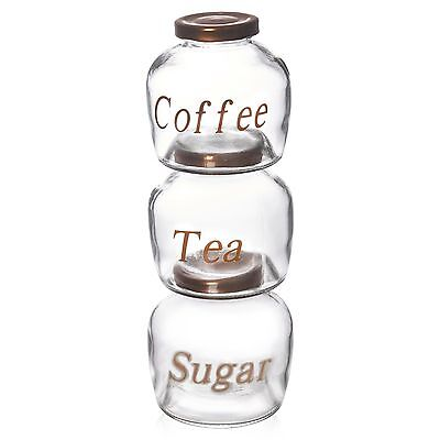 Set Of 3 Tea Coffee Sugar Glass Jar 400ml Canister Jam Kitchen Storage Container