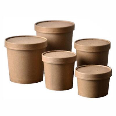 Disposable Kraft Soup Ice Cream Container Round Deli Food Lids Heavy Duty Paper De Li Container