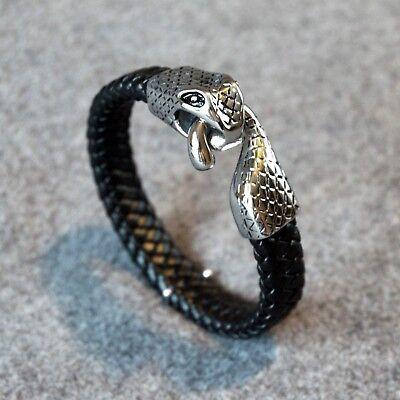 Men's Braided Licorice Leather Band Stainless Steel Snake Head Hook Bracelet Black Licorice Leather Bracelet