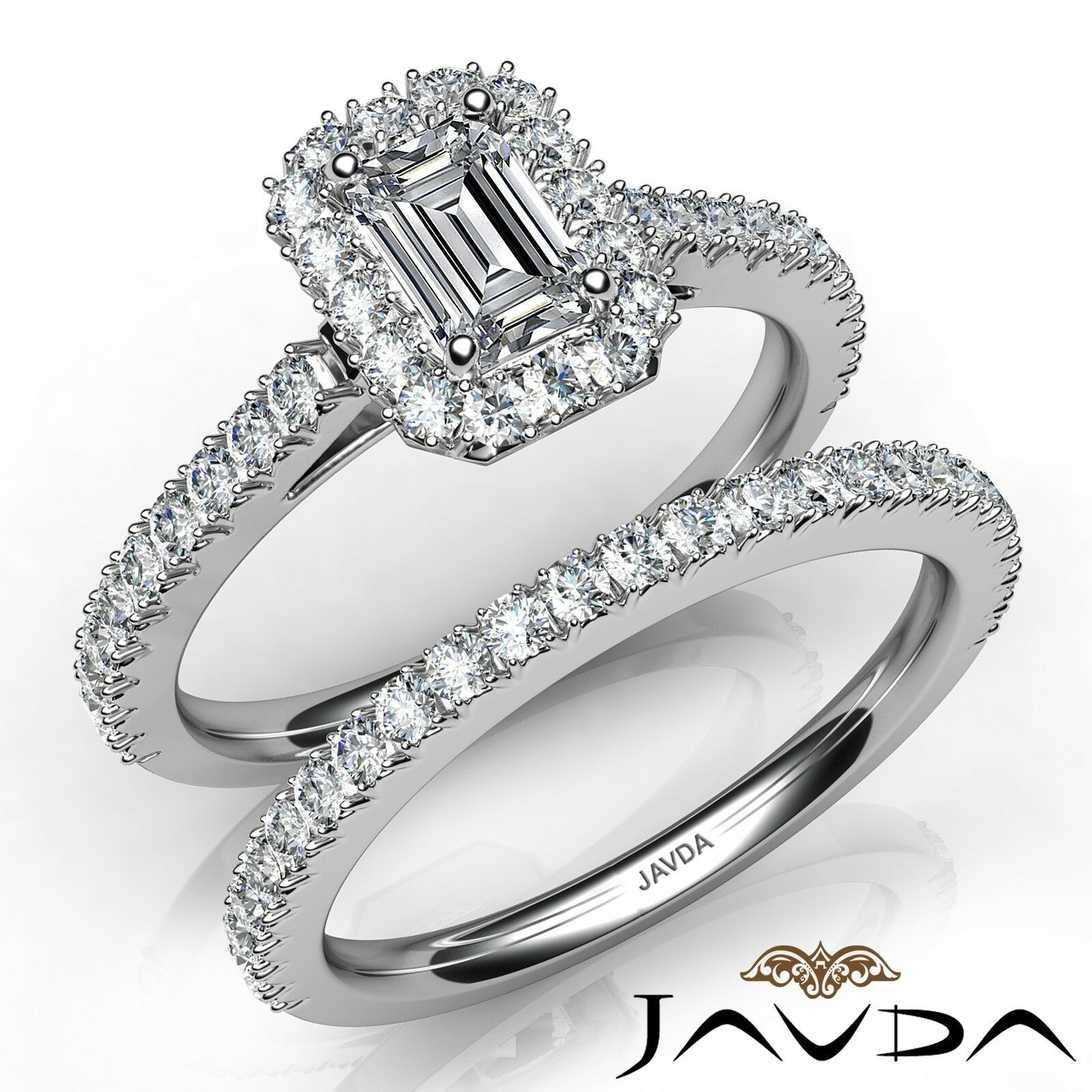 1.91ctw French Pave Halo Bridal Set Emerald Diamond Engagement Ring GIA E-VVS1