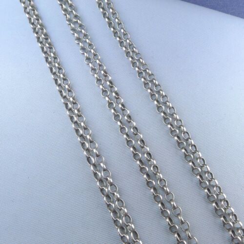 Victorian Sterling Silver Jaseron Link Long Muff Guard Chain Antique Necklace