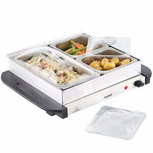 VonShef 3 Tray Food Warmer Buffet Server Hot Tray Keep Food Warm For Longer 200W