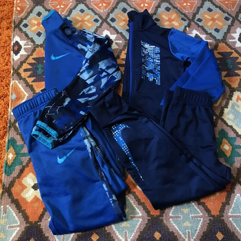 EC Boy's Nike Sweatshirt Full Zip/ Joggers 2 Matching Sets Blue Size 6 (YSM)