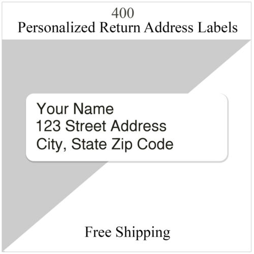 400  Return Address Labels Personalized Printed Custom  1/2 x 1 3/4 Inch