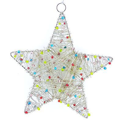 Christmas Decorations Silver Star Tree Ornament Hanging Holiday Baubles  M22