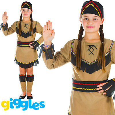 Pocahontas Girl Costume (Girls Indian Pocahontas Childs World Book Day Week Fancy Dress Costume)