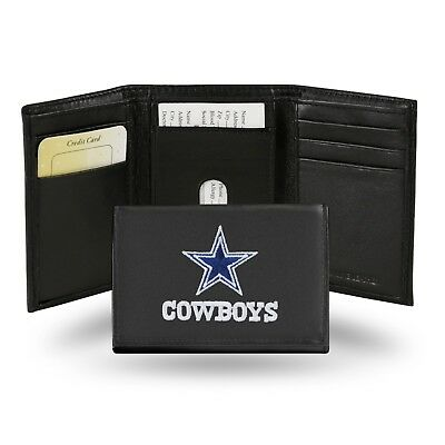 Dallas Cowboys Leather Wallet - Dallas Cowboys NFL Team Logo Embroidered Leather TRIFOLD Wallet