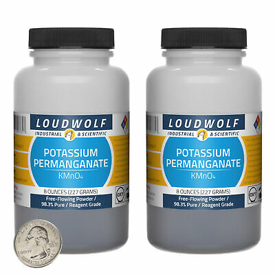 Potassium Permanganate 1 Lb 2 Bottles 98.3 Reagent Grade Flowing Powder