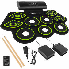 BCP 9 Pad Roll Up Bluetooth Electric Drum Set w/ Headphone Jack, Speaker, Pedal