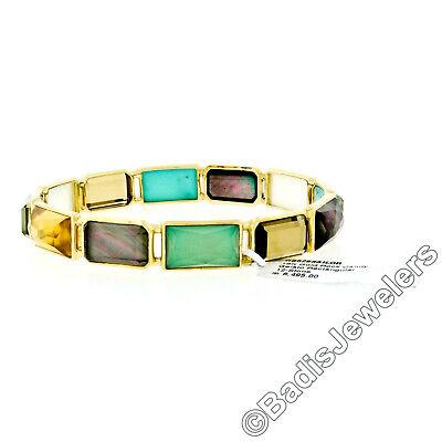 New Ippolita 18k Gold Rock Candy Gelato Sailor 12 Multi Gemstone Bangle Bracelet