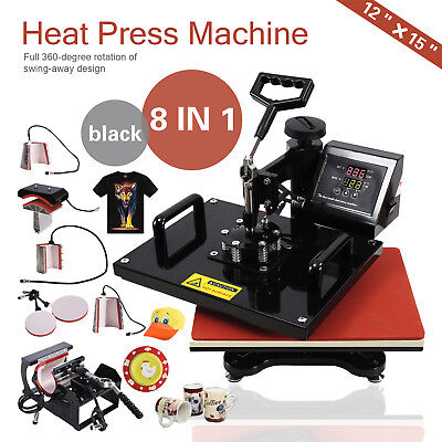 8 In 1 12x15 Swing Away Heat Press Machine Teflon Coated Transfer Sublimation