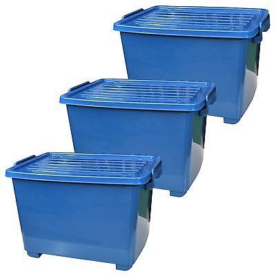 Kunststoff-behälter Mit Deckel (3er Set Rollenbox Deckel 18L blau Spielzeugbehälter Kunststoffkübel Aufbewahrung)