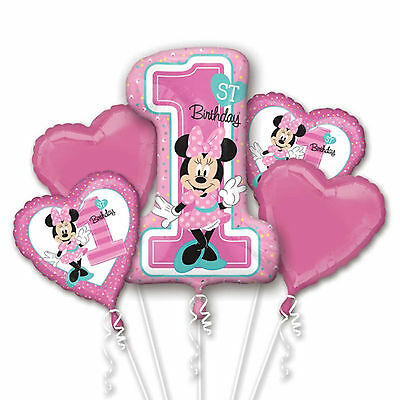 1st Year Old Minnie Mouse Balloon Bouquet First Birthday Party Supplies - 5pc  - 1 Year Old Birthday Party Supplies