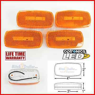(4) AMBER Camper Trailer RV Light 3 LED 2 x 4 surface mount Clearance marker