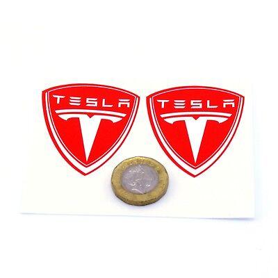 Tesla Badge Stickers Decal Vinyl 50mm x2 Car Panel Powerwall Laptop Red