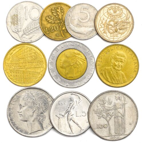 10 ITALY COINS ITALIAN LIRA LIRE OLD COLLECTIBLE COINS SET