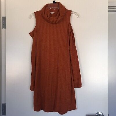 Womens Socialite Sweater Dress M Long Sleeve Cold Shoulder Rust Turtleneck