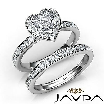 1.92ctw Halo Bridal Side - Stone Heart Diamond Engagement Ring GIA H-SI2 W Gold